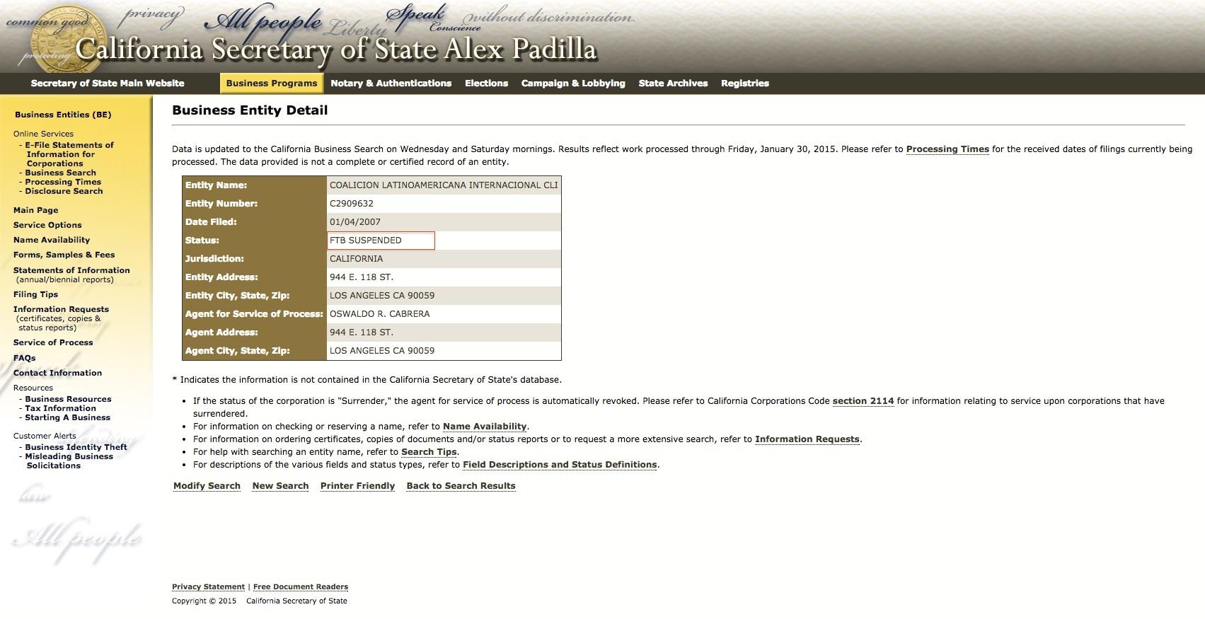 Esta página de la Secretaría de Estado de California le suspendió el permiso de para funcionar a la Coalición Latinoamericana Internacional hace 8 años.