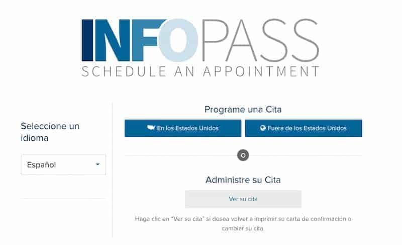 InfoPass homepage