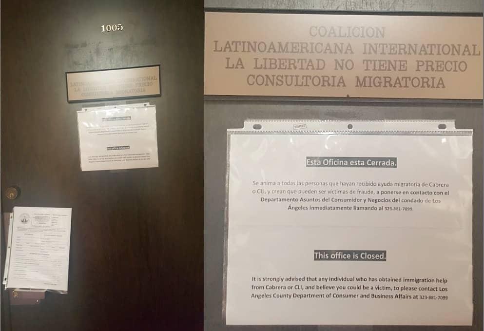 Notificacion de cierre de oficina de Coalición Latinoamericana Internacional