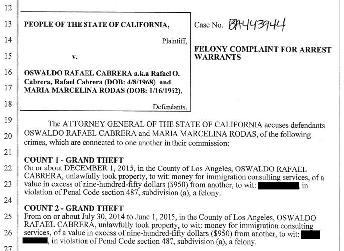 Orden de arresto Oswaldo Cabrera