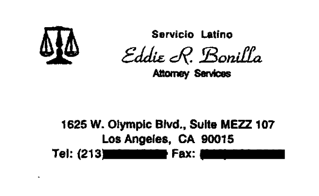 Eddie Rivas Bonilla business card
