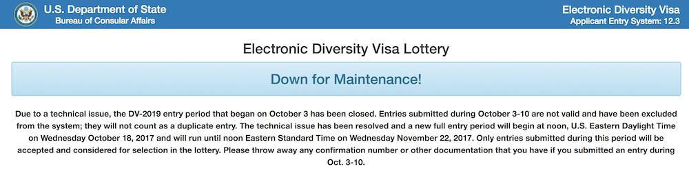 Sitio Loteria de Visas inhabilitado