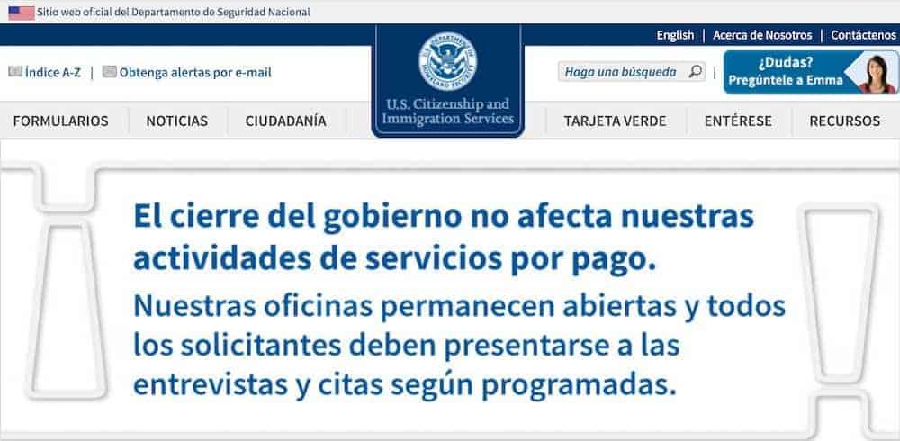 anuncio de USCIS sobre cierre gobierno