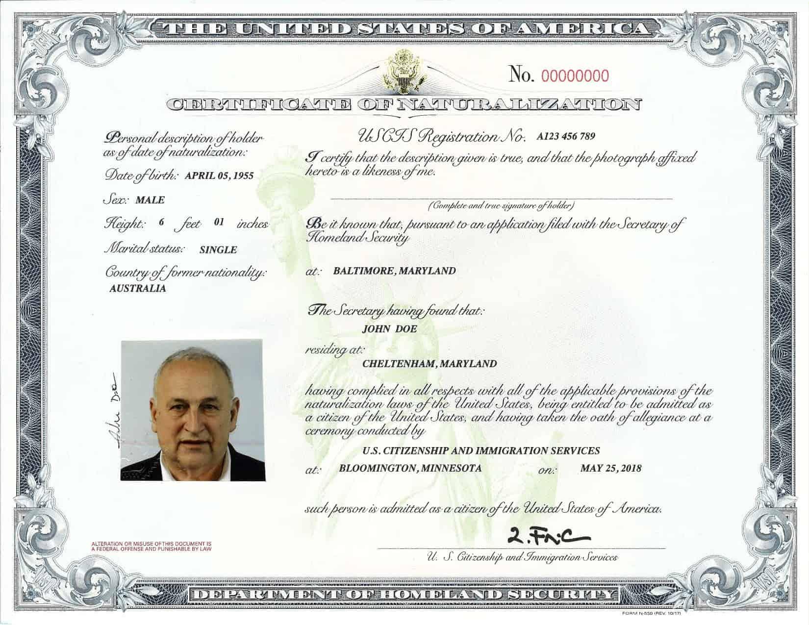 Nuevo certificado 2018 N 550