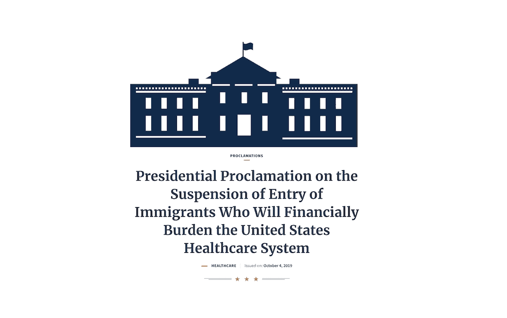 Trump ordena negar visas a inmigrantes sin cobertura médica