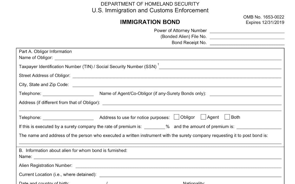 ICE Form I-352 Immigration Bond