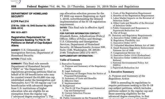 USCIS anuncia la implementación del proceso de registro electrónico H-1B y el plazo de registro