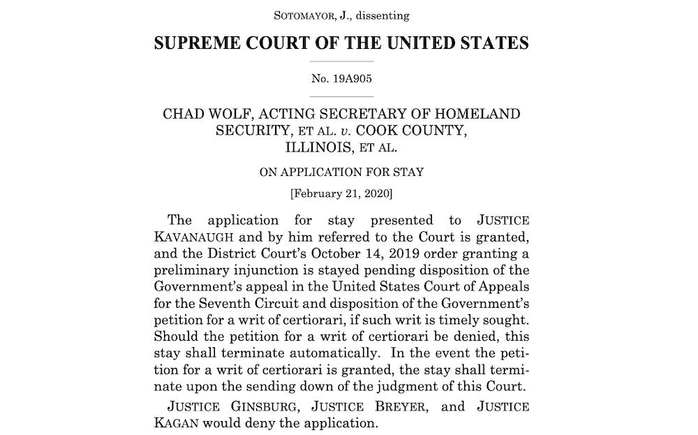 Nueva orden de Corte Suprema de EEUU autoriza aplicar regla de carga pública en todo el país