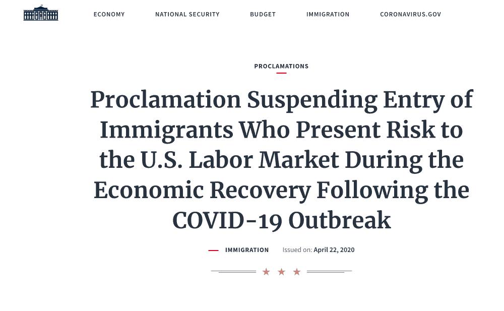 Proclamación Presidente Trump Suspensión Temporal Visas de Inmigrante