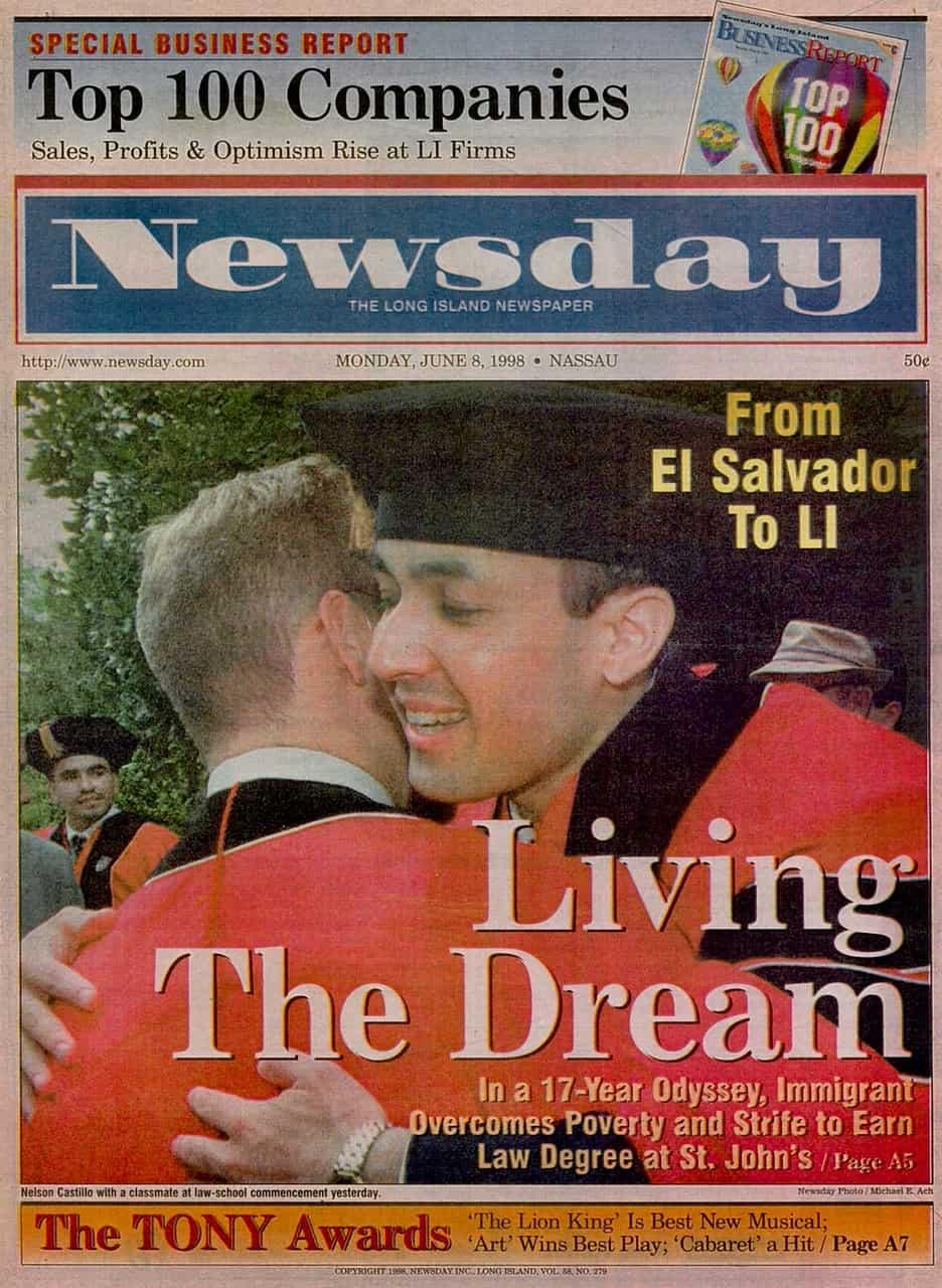 Abogado de Inmigracio%CC%81n Nelson A Castillo Portada Newsday Graduacio%CC%81n Escuela de Leyes