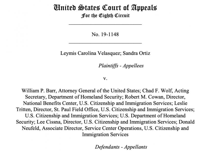 Velasquez v. Barr TPS Admission US Ct Appeals 8th Circuit