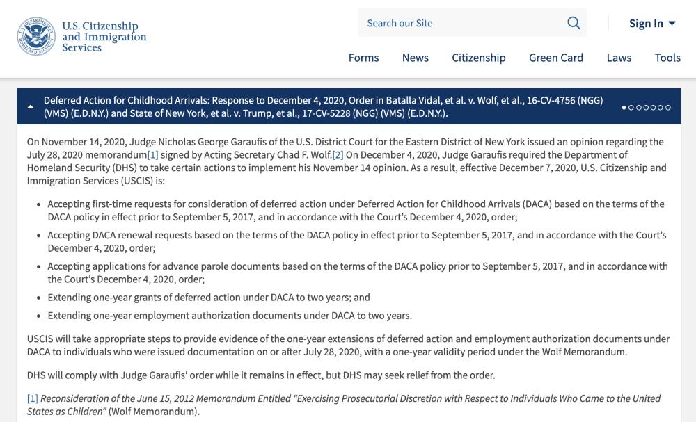 USCIS aceptará nuevas solicitudes para DACA y permisos de ingreso anticipado