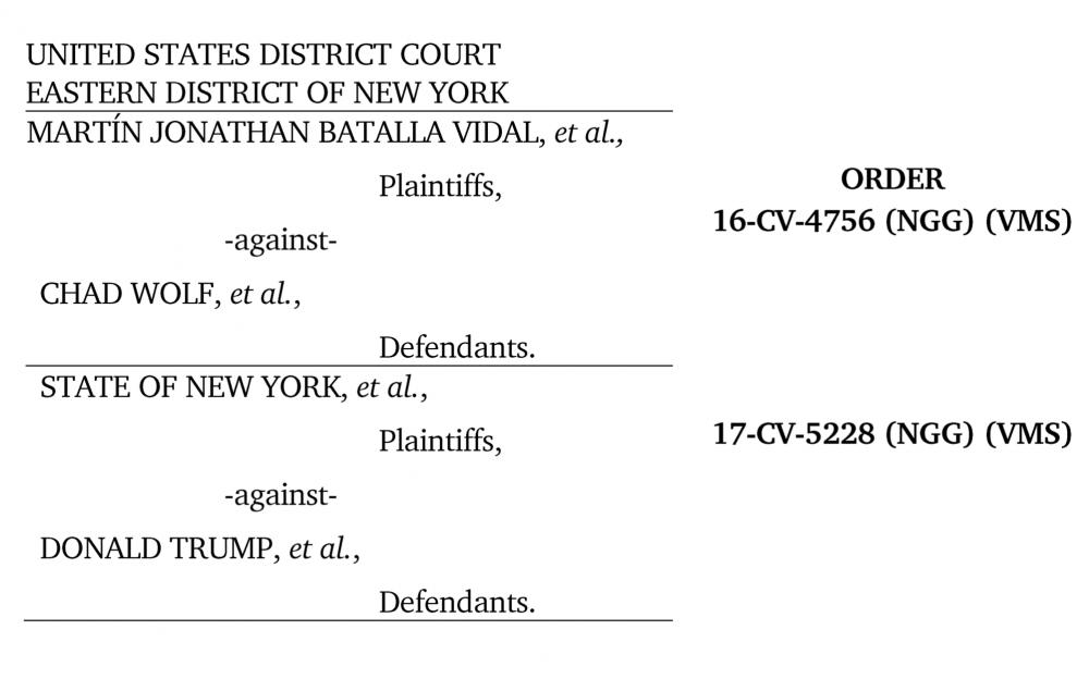 Decision Judicial DACA Batalla Vidal et al v Wolf