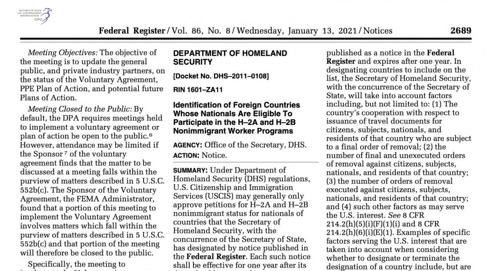 Anuncio oficial paises elegibles para visas H-2A y H-2B en el 2021.
