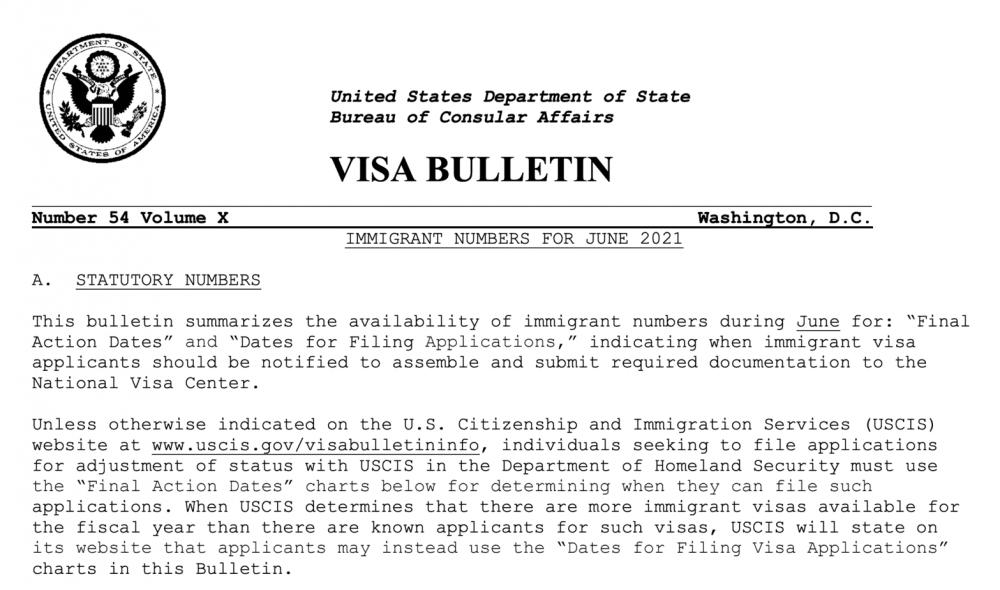 USDOS publica Boletín de Visas junio 2021
