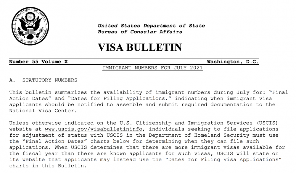 USDOS publica Boletín de Visas julio 2021