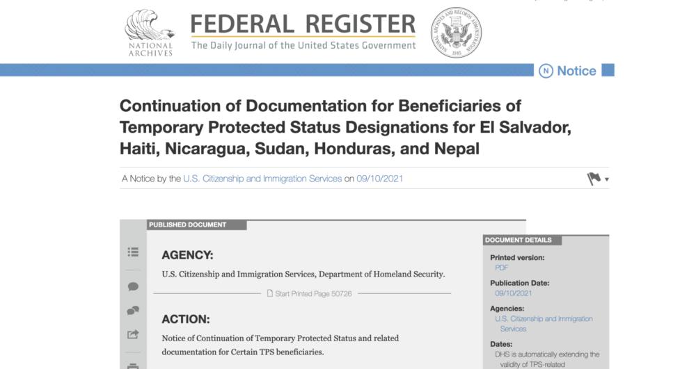 Notificación oficial de la nueva extensión de permisos de trabajo para hondureños, nicaragüenses y salvadoreños en TPS